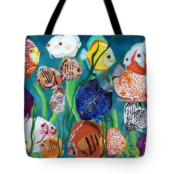 Discus Fantasy Tote Bag by Debbie LaFrance