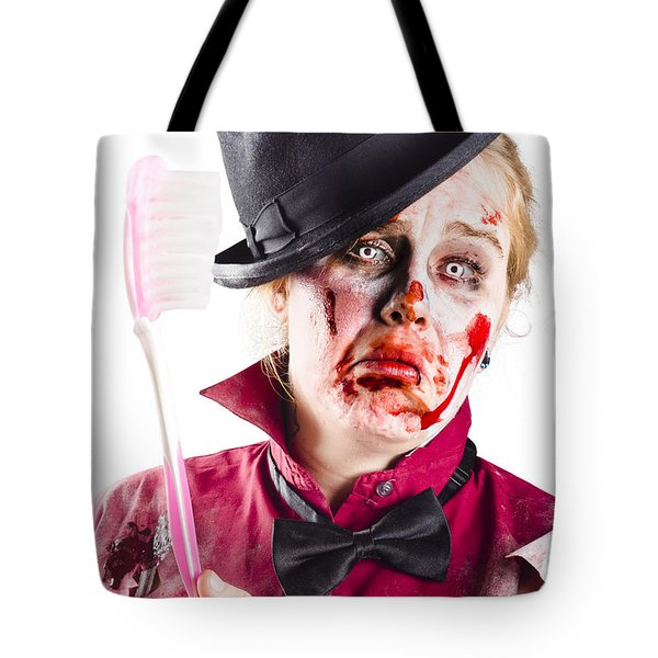Tote Bag featuring the photograph Diseased Woman With Big Toothbrush by Jorgo Photography - Wall Art Gallery