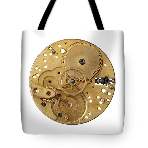 Tote Bag featuring the photograph Dismantled Clockwork Mechanism by Michal Boubin