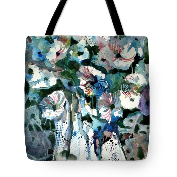 Tote Bag featuring the painting Disney Petunias by Mindy Newman
