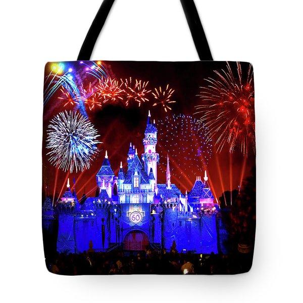 Disneyland 60th Anniversary Fireworks Tote Bag by Mark Andrew Thomas