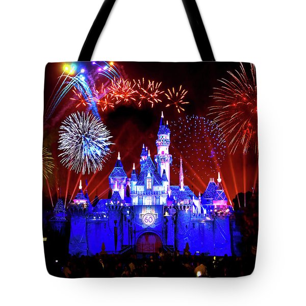 Disneyland 60th Anniversary Fireworks Tote Bag by Mark Andrew Thomas