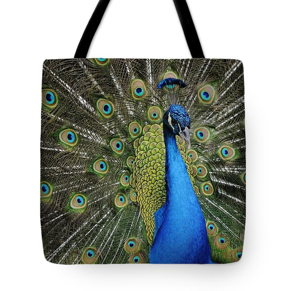 Tote Bag featuring the photograph Displaying Peacock Portrait by Bradford Martin