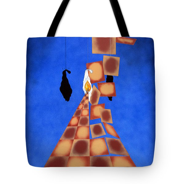 Disrupted Egg Path On Blue Tote Bag