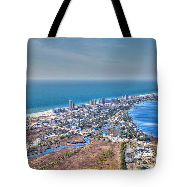 Tote Bag featuring the photograph Distant Aerial View Of Gulf Shores by Gulf Coast Aerials -