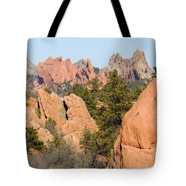 Distant Garden Of The Gods From Red Rock Canyon Tote Bag