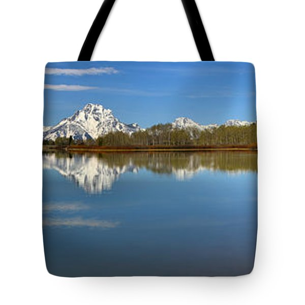 Distant Mt. Moran Reflections Tote Bag by Adam Jewell