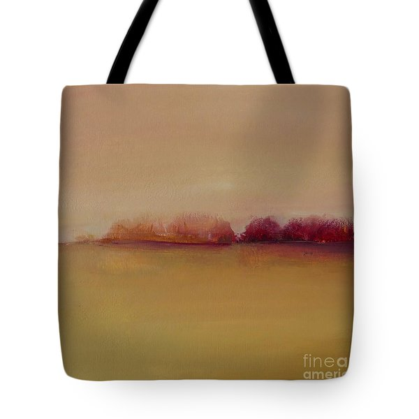 Tote Bag featuring the painting Distant Red Trees by Michelle Abrams