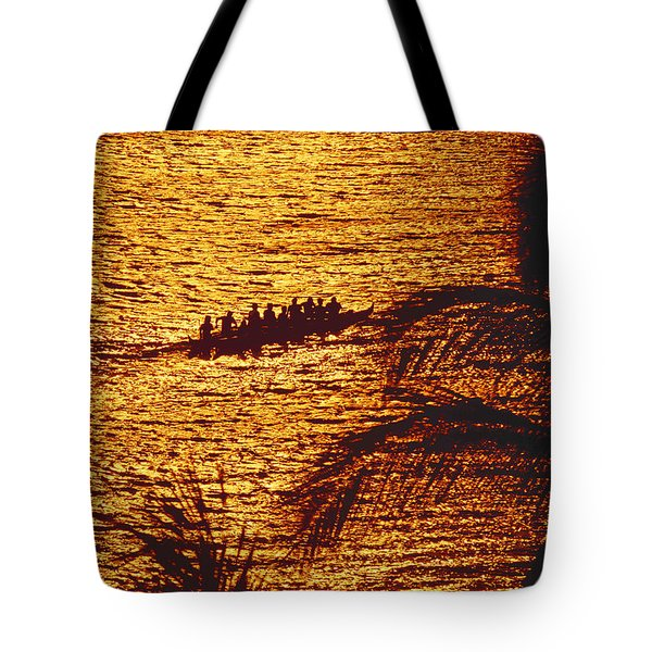 Distant View Of Outrigger Tote Bag by Ron Dahlquist - Printscapes