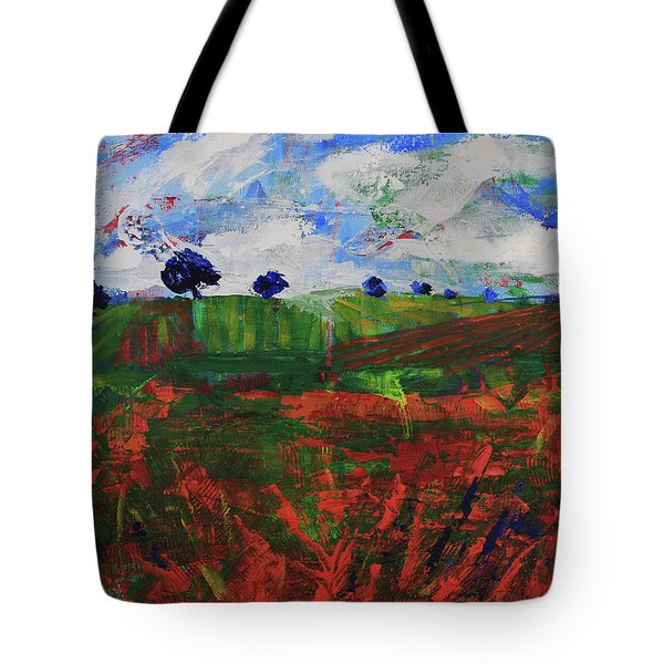 Tote Bag featuring the painting Distant Vineyards by Walter Fahmy