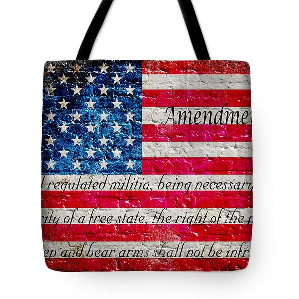 Distressed American Flag And Second Amendment On White Bricks Wall Tote Bag