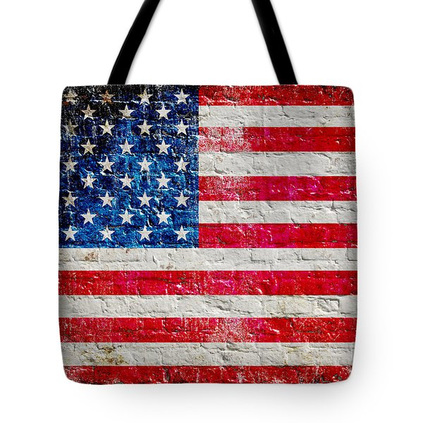 Distressed American Flag On Old Brick Wall - Horizontal Tote Bag by M L C
