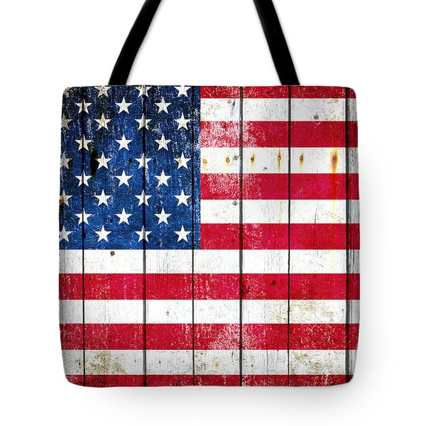 Distressed American Flag On Wood Planks - Horizontal Tote Bag by M L C