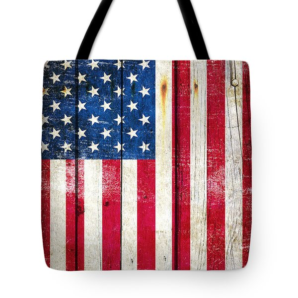 Distressed American Flag On Wood - Vertical Tote Bag by M L C