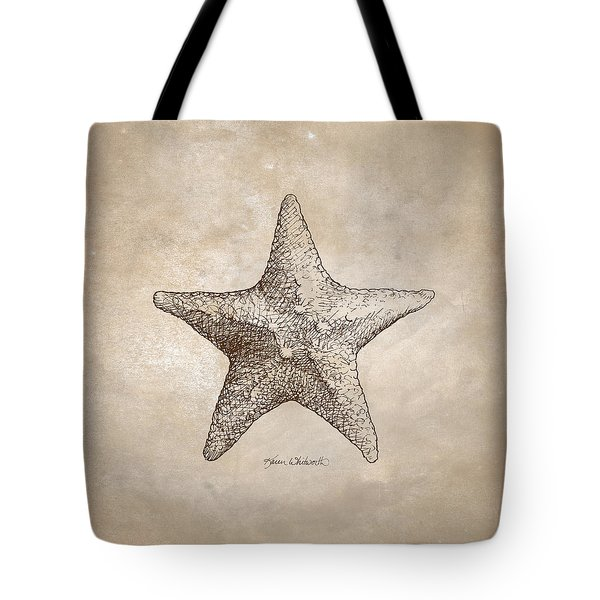 Tote Bag featuring the drawing Distressed Antique Nautical Starfish by Karen Whitworth