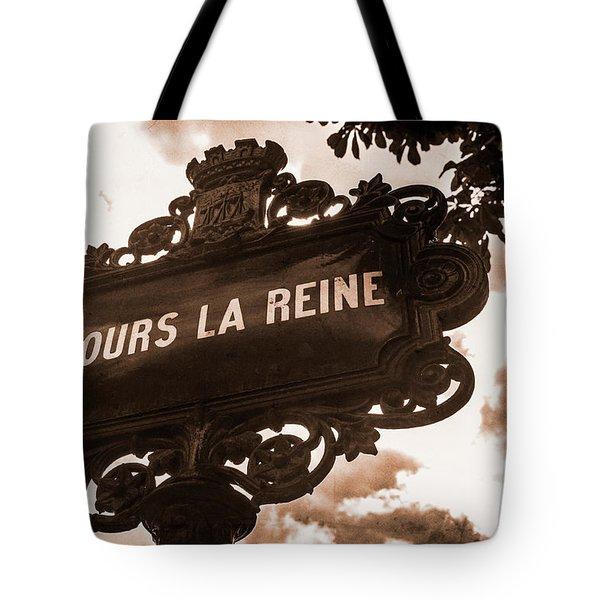Distressed Parisian Street Sign Tote Bag