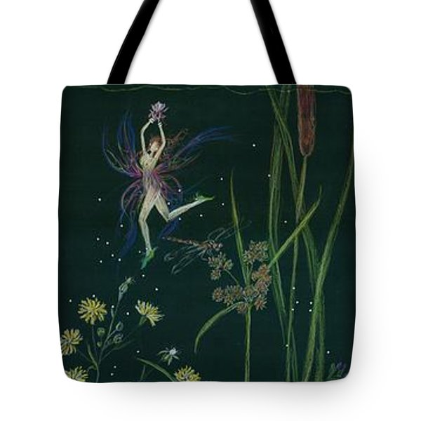 Tote Bag featuring the drawing Ditchweed Fairy Cattails by Dawn Fairies