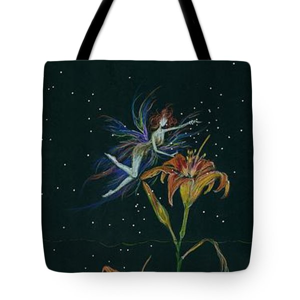 Tote Bag featuring the drawing Ditchweed Fairy Daylily by Dawn Fairies