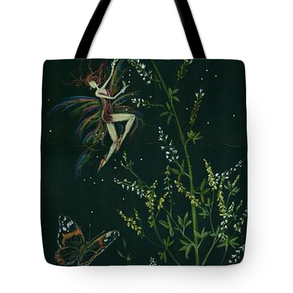 Tote Bag featuring the drawing Ditchweed Fairy Hello Butterfly by Dawn Fairies