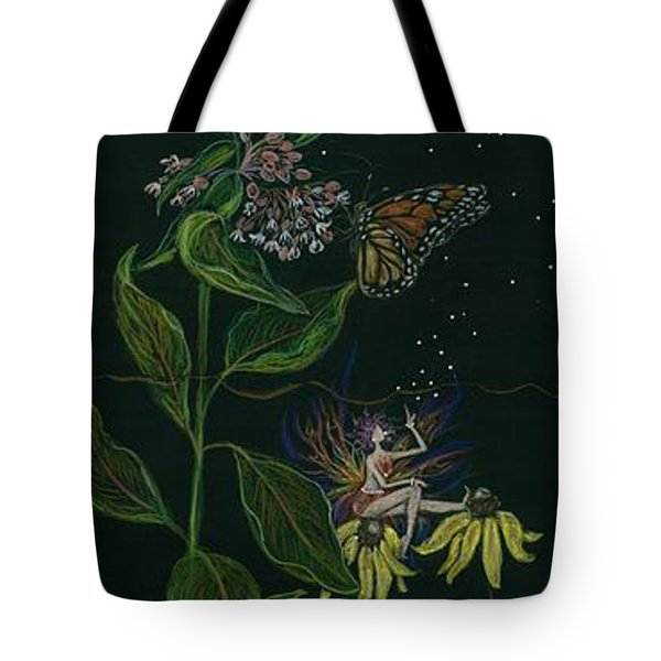 Tote Bag featuring the drawing Ditchweed Fairy Milkweed by Dawn Fairies