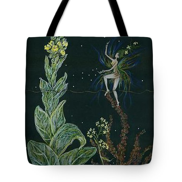 Tote Bag featuring the drawing Ditchweed Fairy Mullein by Dawn Fairies