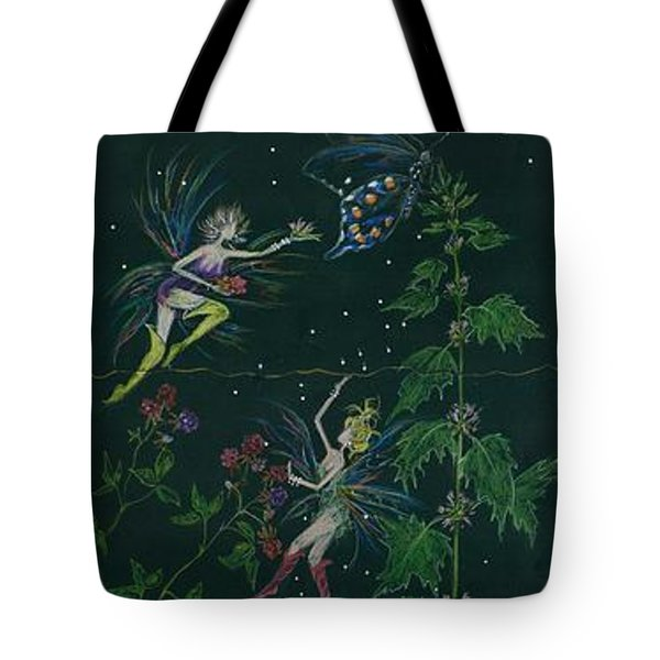 Tote Bag featuring the drawing Ditchweed Fairy Raspberry Picking by Dawn Fairies