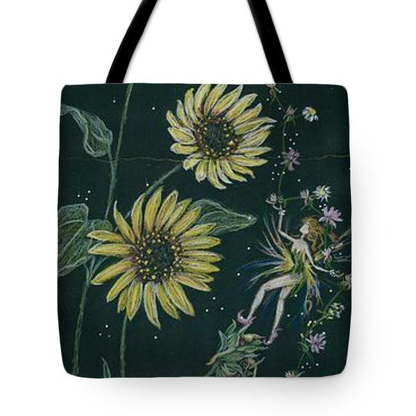 Tote Bag featuring the drawing Ditchweed Fairy Sunflowers by Dawn Fairies