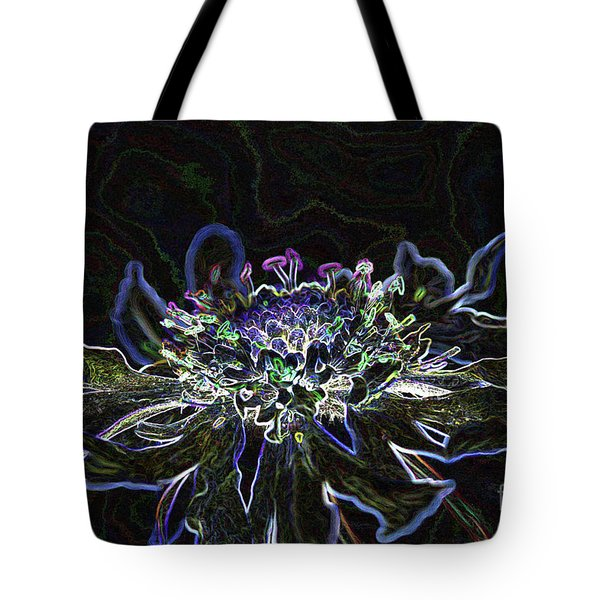 Ditigal Abstract Art Glowing Flower Tote Bag
