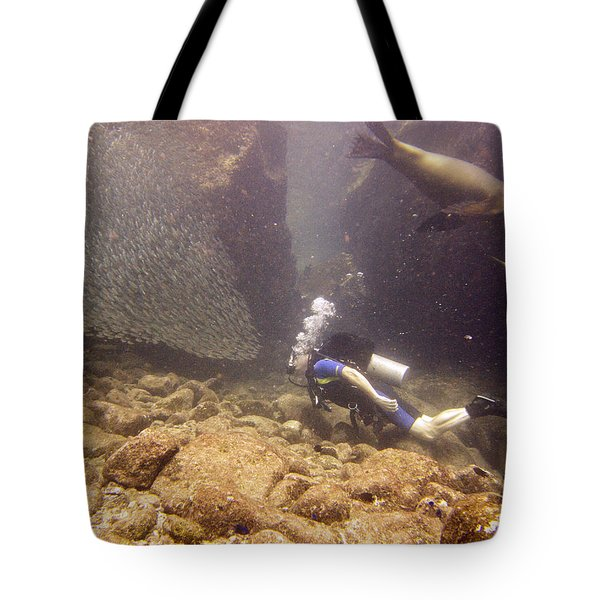 Diver And Sea Lion Tote Bag