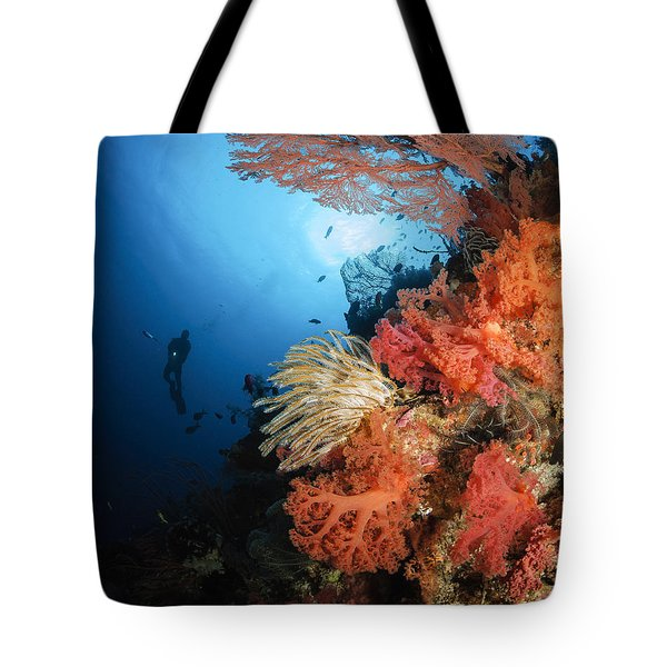 Diver Swims By A Soft Coral Reef Tote Bag