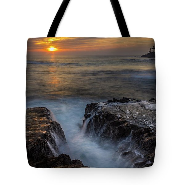 Tote Bag featuring the photograph Diver's Cove Sunset by Andy Konieczny