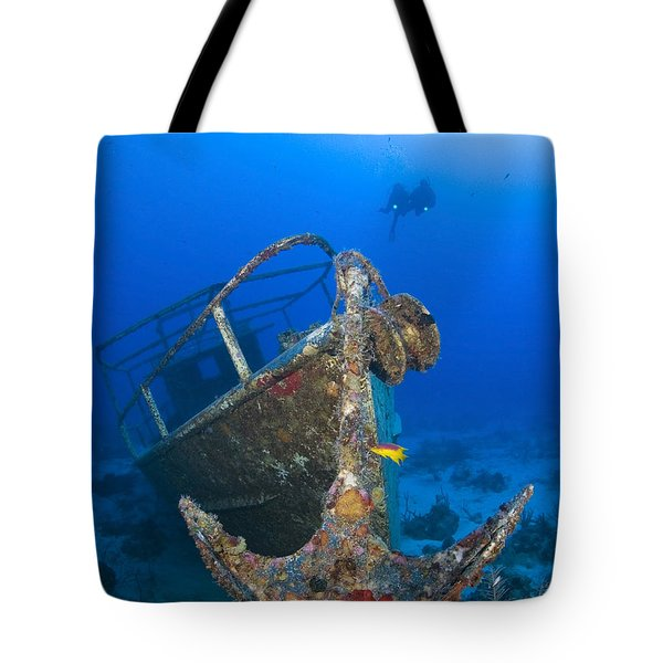 Divers Visit The Pelicano Shipwreck Tote Bag by Karen Doody