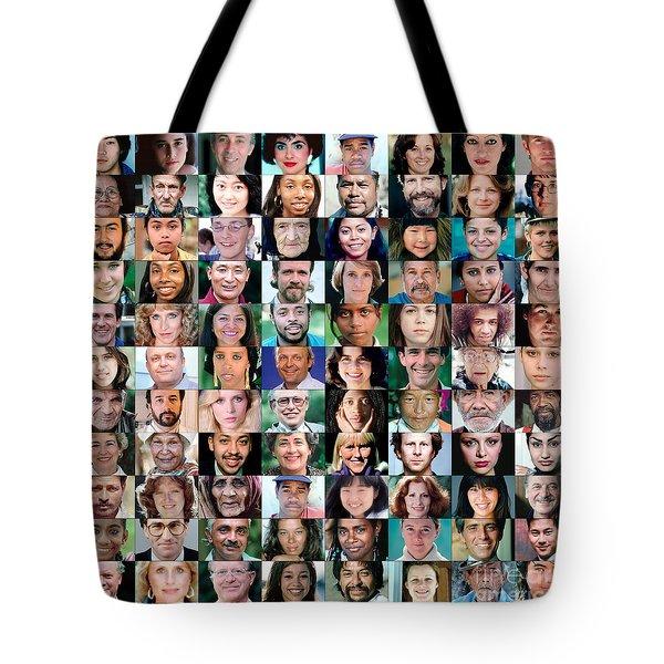 Diversity Faces Mosaic Tote Bag