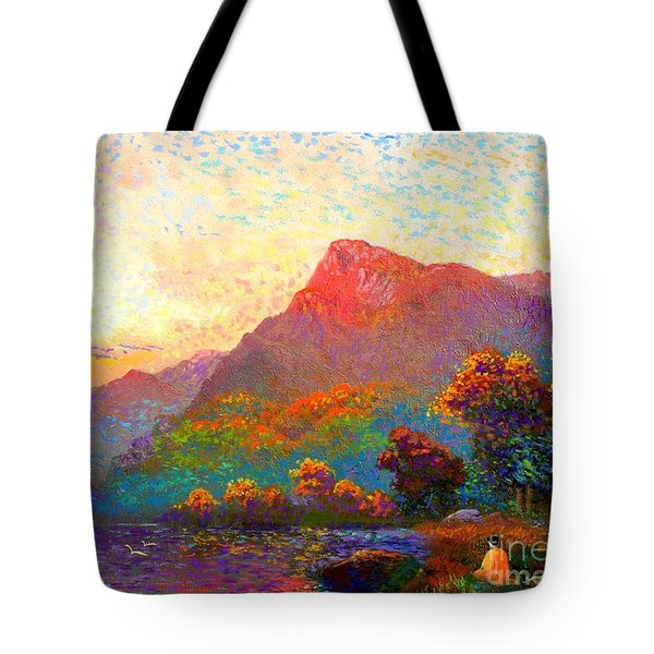 Tote Bag featuring the painting  Buddha Meditation, Divine Light by Jane Small