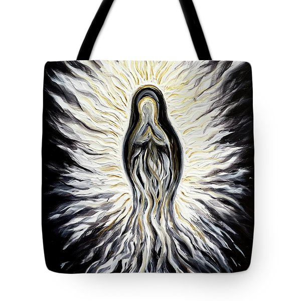 Divine Mother Black And White Tote Bag