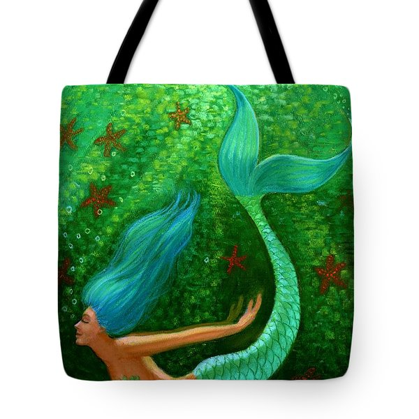 Diving Mermaid Fantasy Art Tote Bag by Sue Halstenberg