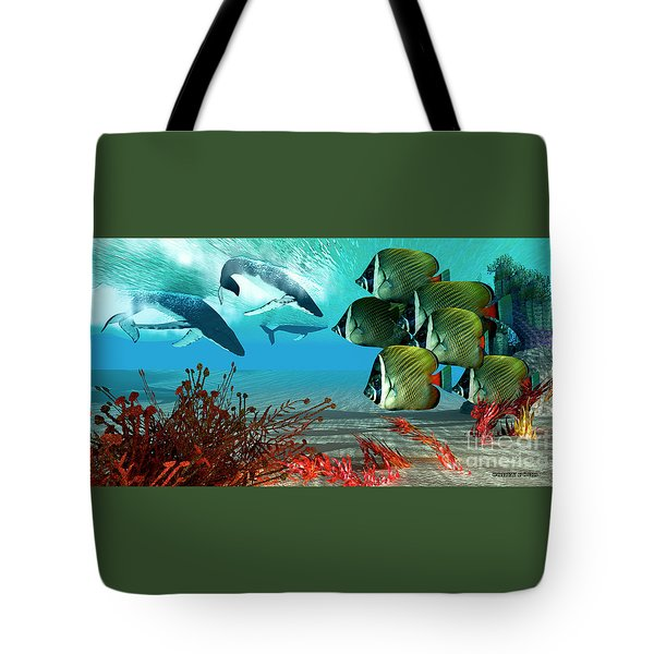 Diving Whales Tote Bag by Corey Ford