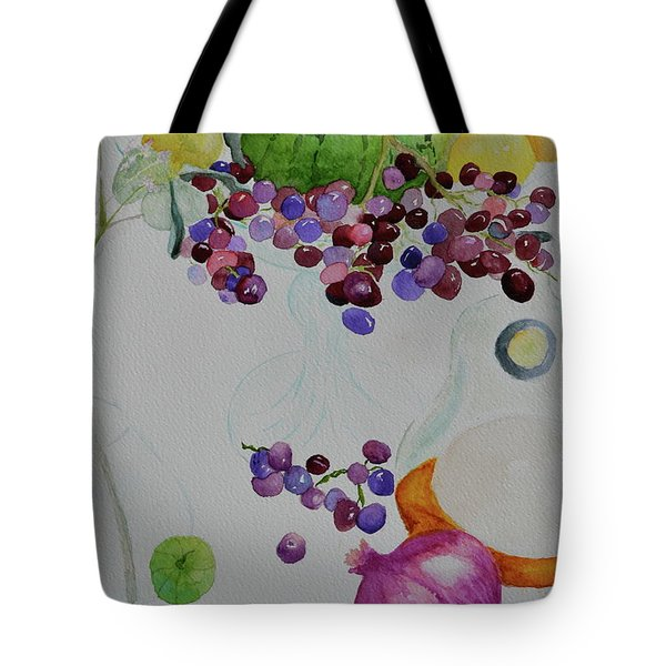 Tote Bag featuring the painting Django's Grapes by Beverley Harper Tinsley
