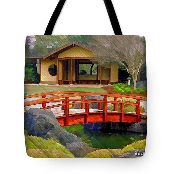 Do-00006 Cypress Bridge And Tea House Tote Bag by Digital Oil