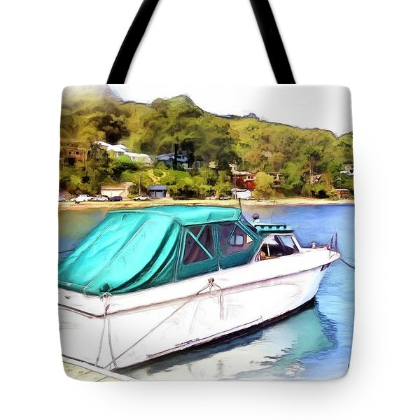 Tote Bag featuring the photograph Do-00276 Green Boat In Killcare by Digital Oil