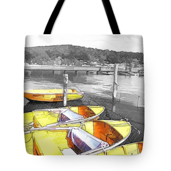 Do-00279 Yellow Boats Tote Bag by Digital Oil