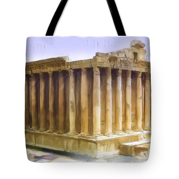 Do-00312 Temple Of Bacchus In Baalbeck Tote Bag by Digital Oil