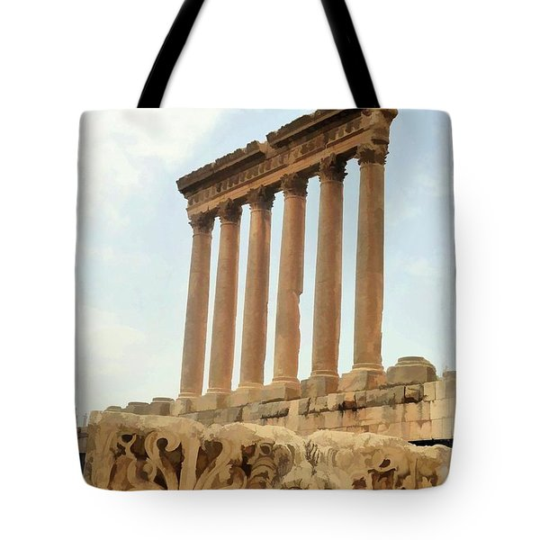 Do-00314 The 6 Corinthian Columns In Baalbeck Tote Bag by Digital Oil
