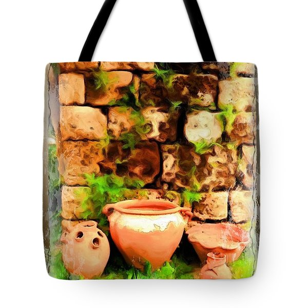 Tote Bag featuring the photograph Do-00348 Jars In Byblos by Digital Oil