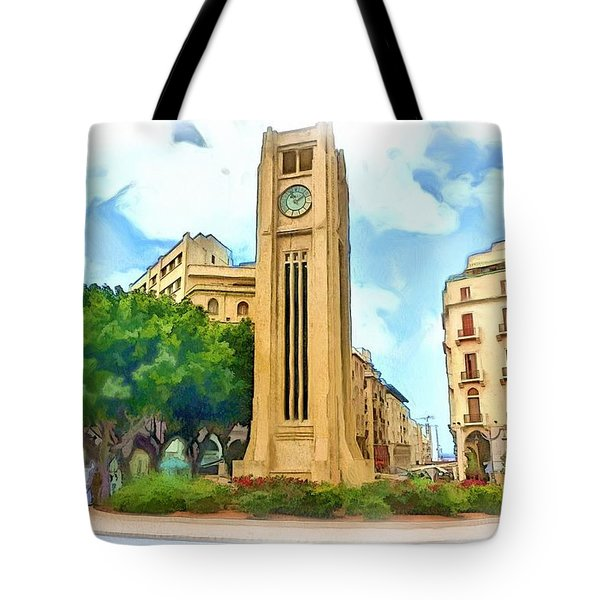 Do-00358 The Clock Tower Tote Bag by Digital Oil