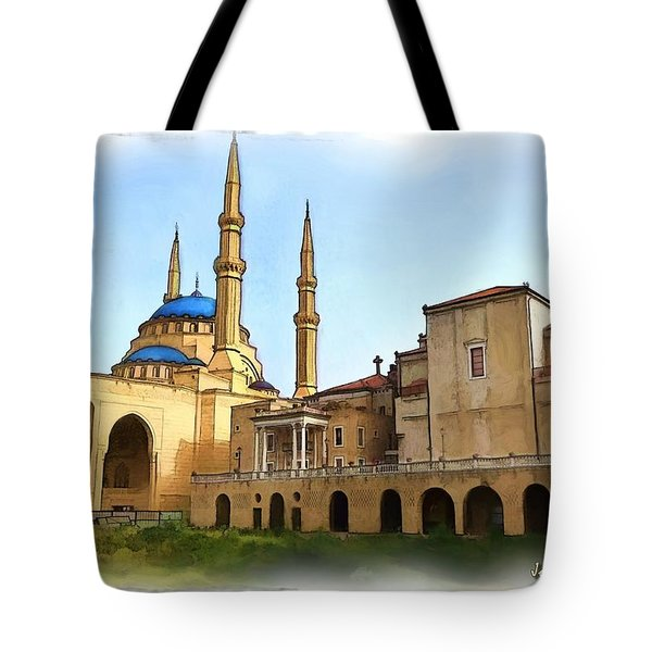 Tote Bag featuring the photograph Do-00362al Amin Mosque And St George Maronite Cathedral by Digital Oil