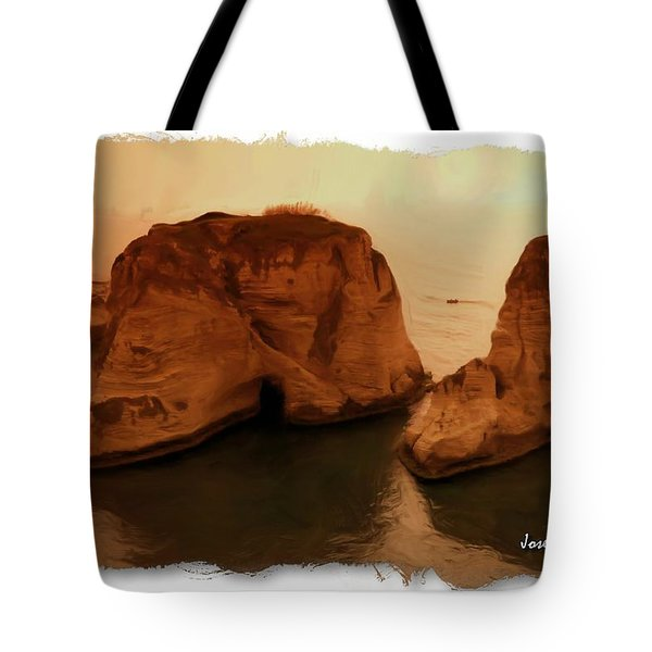 Do-00405 Raouche Sunset Beirut  Tote Bag by Digital Oil