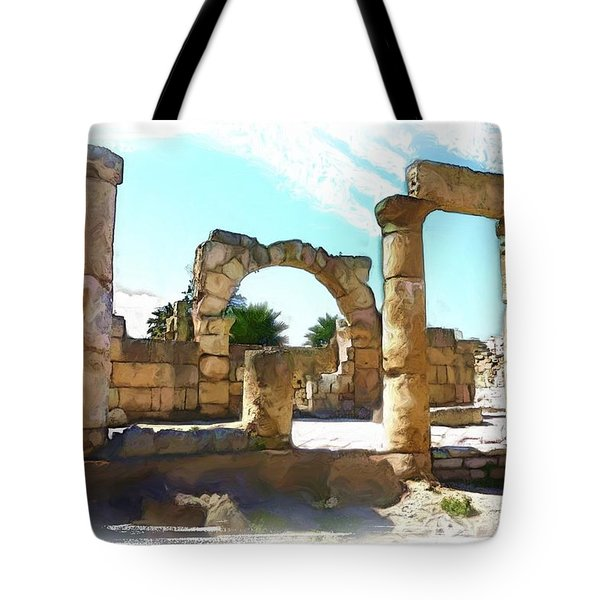 Tote Bag featuring the photograph Do-00408 Colonnades In Tyr by Digital Oil