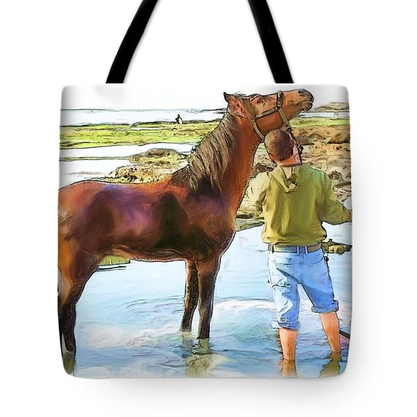Do-00421 Washing Horse In Mina Tote Bag by Digital Oil