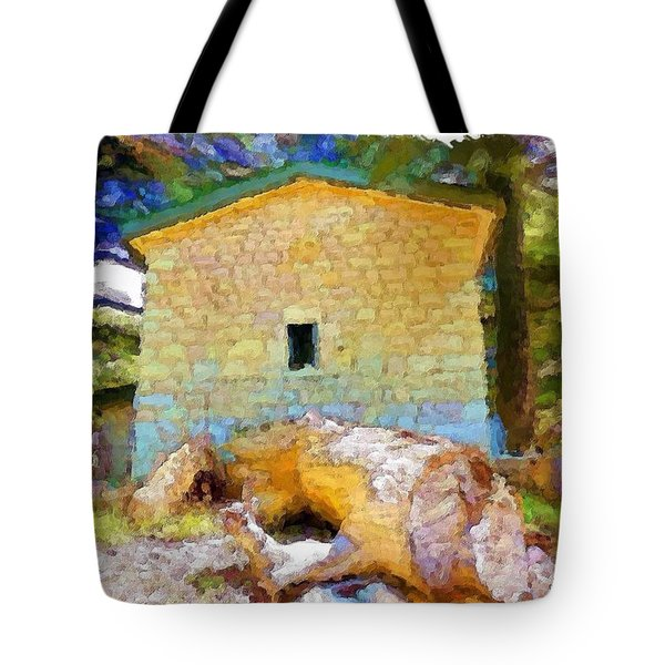 Do-00435 Building Surrounded By Cedars Tote Bag by Digital Oil